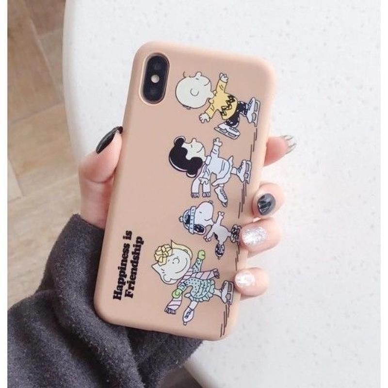 輸入雑貨 スヌーピー ケータイケース snoopy ケータイカバー  iphone XR XsMAX 最大種類 iphone 8 7 6 6 s-plus ピーナッツフレンズ フル  スモークピンク