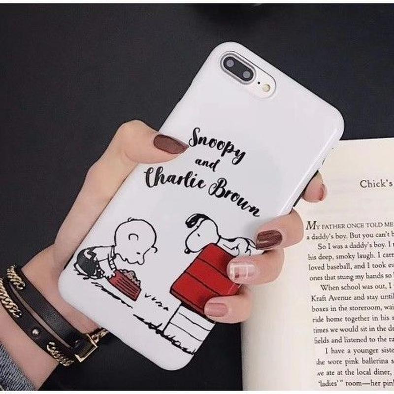 輸入雑貨 スヌーピー ケータイケース snoopy ケータイカバー  iphone XR XsMAX 最大種類 iphone 8 7 6 6 s-plus ハッピーフレンズ IMD ホワイト1