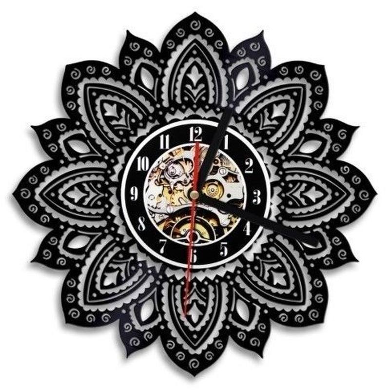 輸入雑貨 花のライフ モダンデザイン 壁アート ヴィンテージ 30cm レコード盤 壁掛け時計 人気  インテリア ディスプレイ