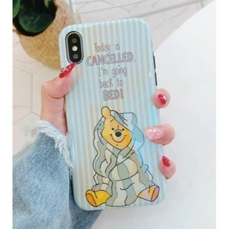 輸入雑貨 プーさん ディズニー ケータイカバー  iphone X 最大種類 iphone 8 7 6 6 s-plus ハッピープーさん8ブルー