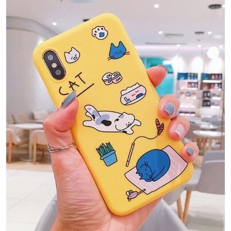 輸入雑貨 ネコ cat 猫ケータイカバー  iphone XR XsMAX 最大種類 iphone 8 7 6 6 s-plus にゃんイエロー