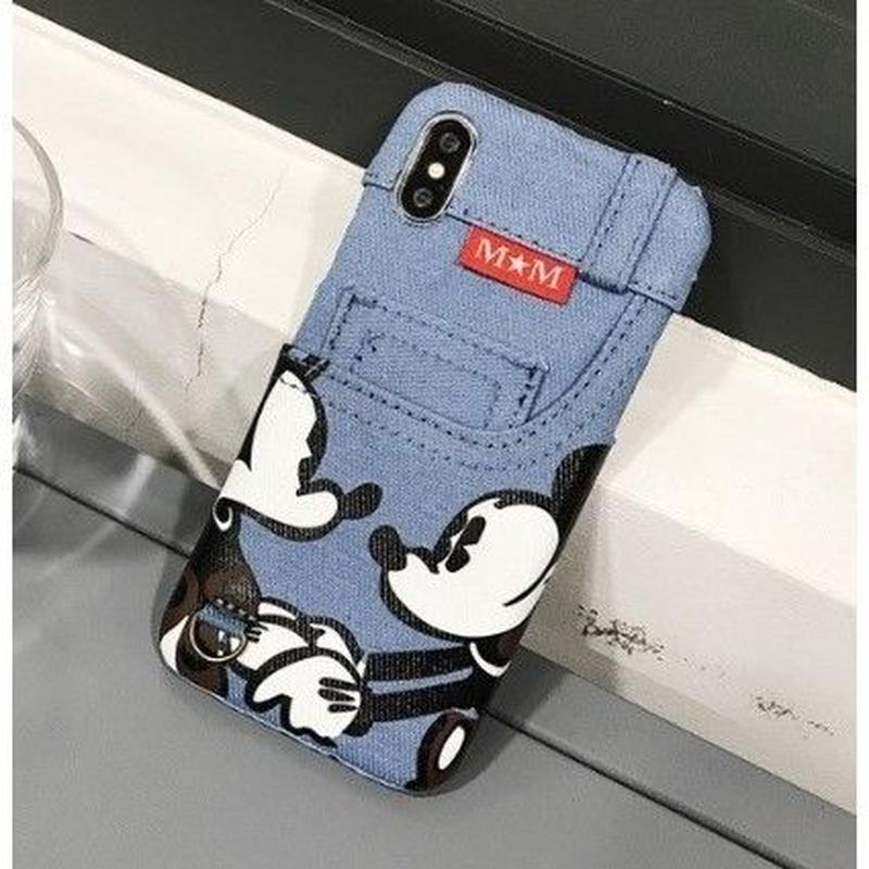 輸入雑貨 ミッキー ミニー ディズニー ケータイカバー  iphone X 最大種類 iphone 8 7 6 6 s-plus デニムミニーミッキー2