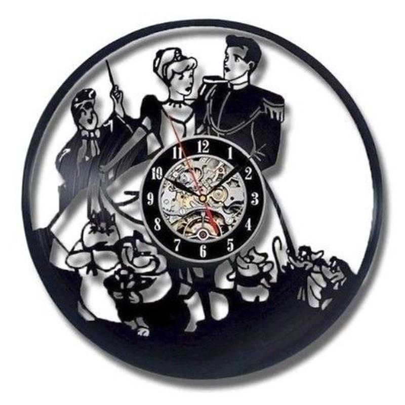 輸入雑貨 シンデレラ 30cm レコード盤 壁掛け時計 アニメ 映画 人気  インテリア ディスプレイ 2種類展開 1