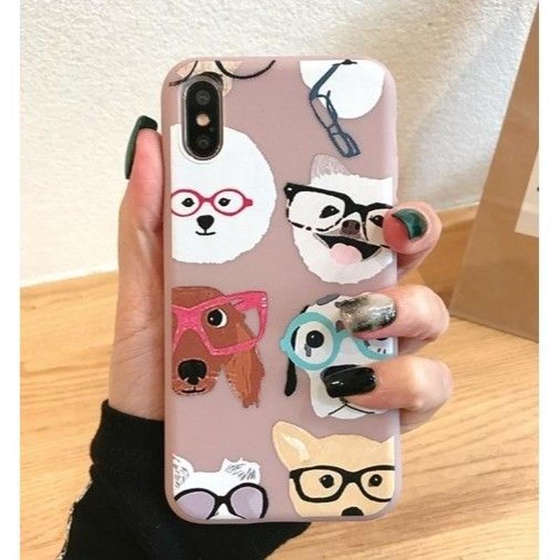 輸入雑貨 メガネ Dog  犬 ケータイカバー iphone XR XsMAX 最大種類 iphone 8 7 6 6 s-plus メガネ ピンク