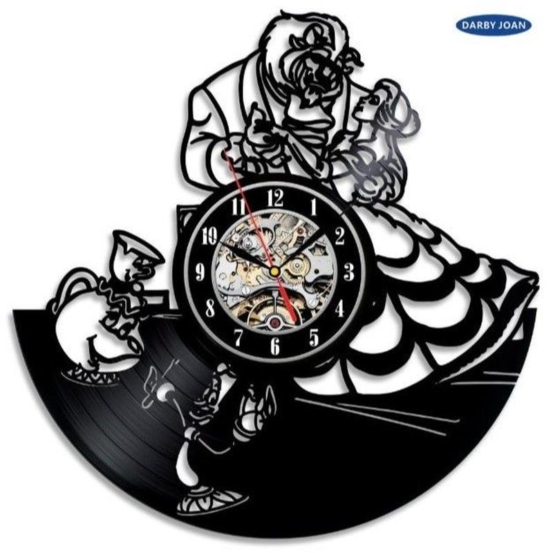 輸入雑貨 美女と野獣 仲間たち 30cm レコード盤 壁掛け時計 アニメ 映画 人気  インテリア ディスプレイ