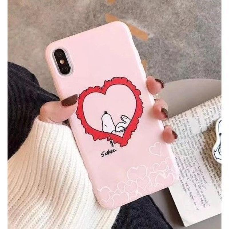輸入雑貨 スヌーピー ケータイケース snoopy ケータイカバー  iphone XR XsMAX 最大種類 iphone 8 7 6 6 s-plus ハッピーフレンズTPU ピンク2
