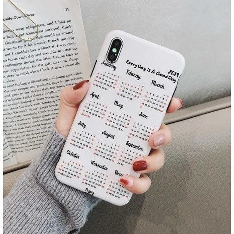 輸入雑貨 シンプル 2019カレンダー   iphone XR XsMAXケース 最大種類 iphone 8 7 6 6 s-plus カレンダー