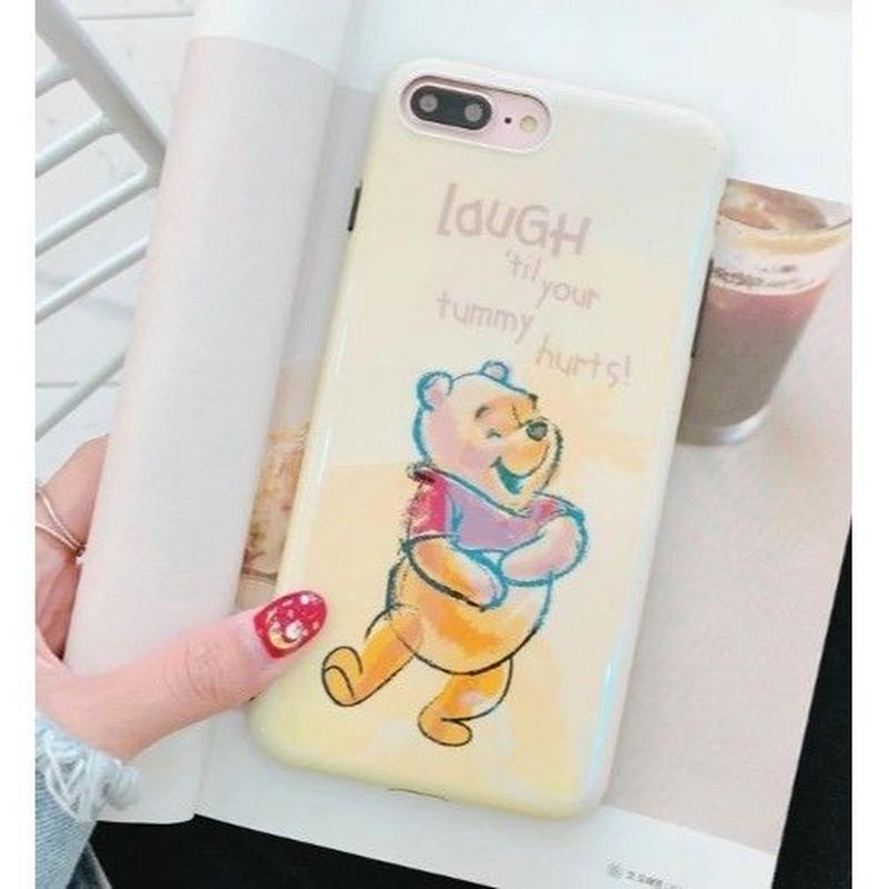 輸入雑貨 プーさん ディズニー ケータイカバー  iphone X 最大種類 iphone 8 7 6 6 s-plus ハッピープーさん9イエロー