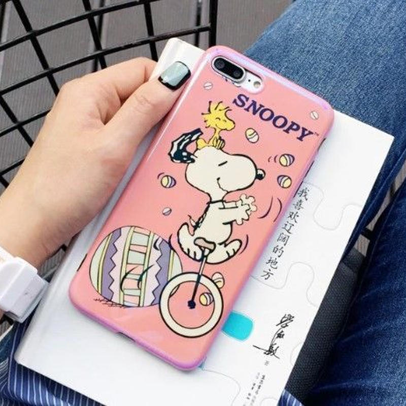 輸入雑貨 スヌーピー ケータイケース snoopy ケータイカバー  iphone X 最大種類 iphone 8 7 6 6 s-plus 一輪車ピンク