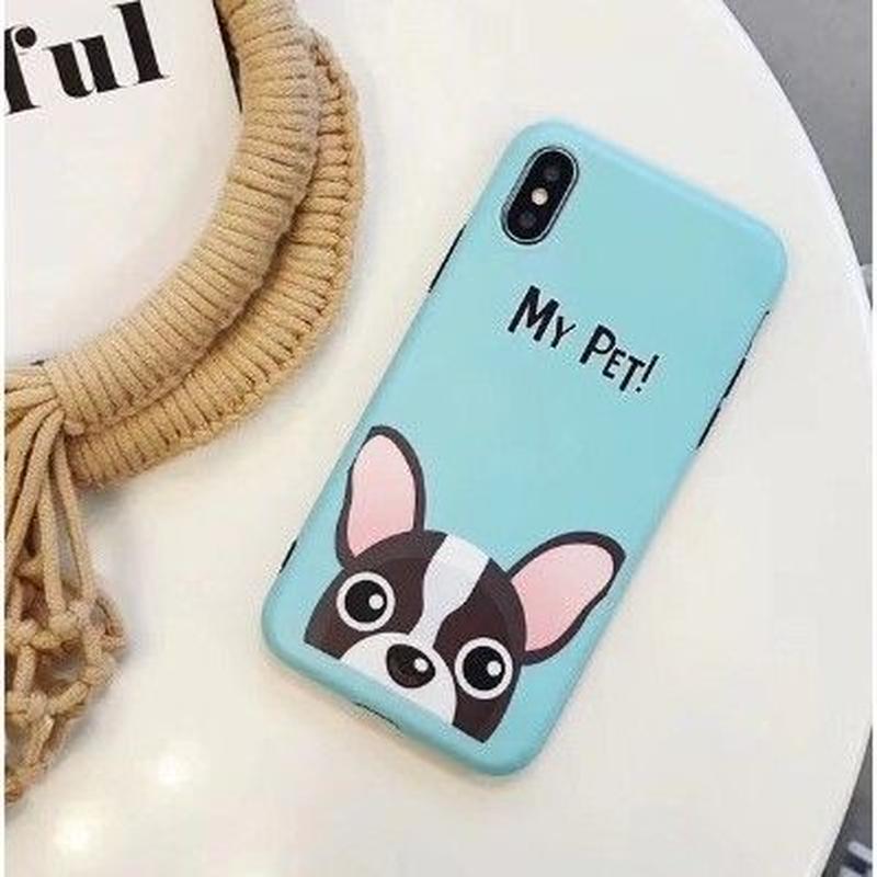 輸入雑貨 Myペット Dog  犬 ケータイカバー iphone XR XsMAX 最大種類 iphone 8 7 6 6 s-plus スカイブルー