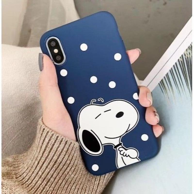 輸入雑貨 スヌーピー ケータイケース snoopy ケータイカバー  iphone XR XsMAX 最大種類 iphone 8 7 6 6 s-plus CUTE ドット ブルー