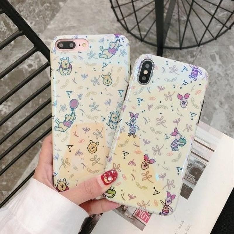 輸入雑貨 ディズニー 小プーさん ケータイカバー  iphone XR XsMAX 最大種類 iphone 8 7 6 6 s  小Pooh柄イエロー