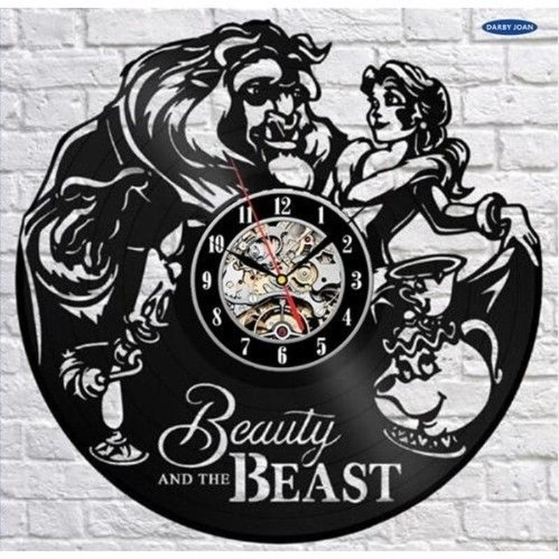 輸入雑貨 美女と野獣 30cm レコード盤 壁掛け時計 アニメ 映画 人気  インテリア ディスプレイ 8種類展開 1