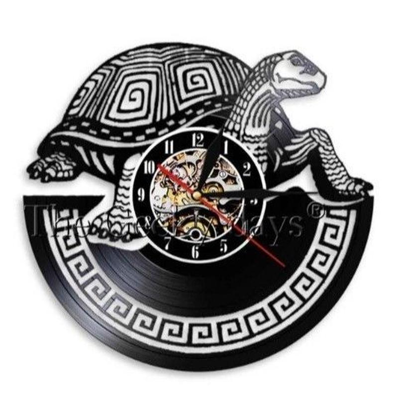 輸入雑貨 カメ 亀 壁アート ヴィンテージ 30cm レコード盤 壁掛け時計 人気  インテリア ディスプレイ
