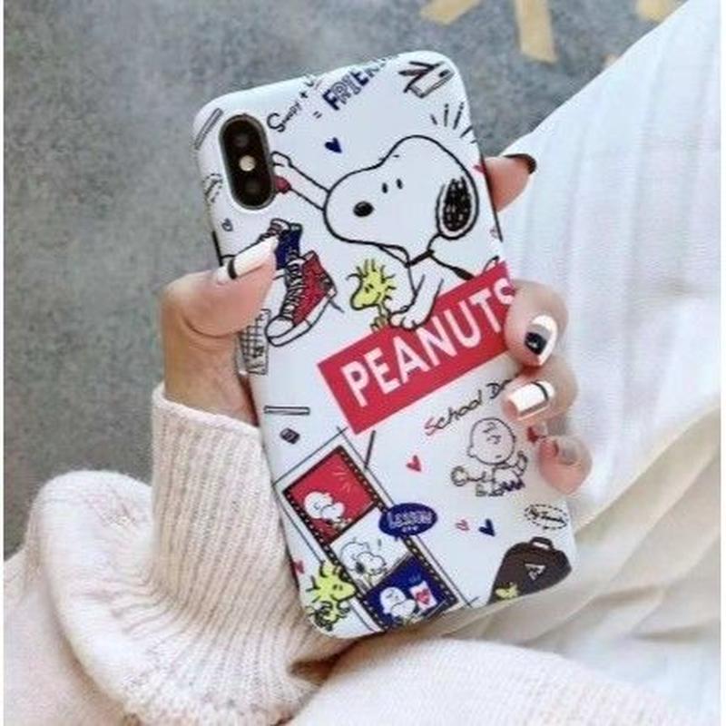 輸入雑貨 スヌーピー ケータイケース Snoopy ケータイカバー  iphone Xs ケース 最大種類 iphone 8 7 6 6 s-plus 2ホワイト