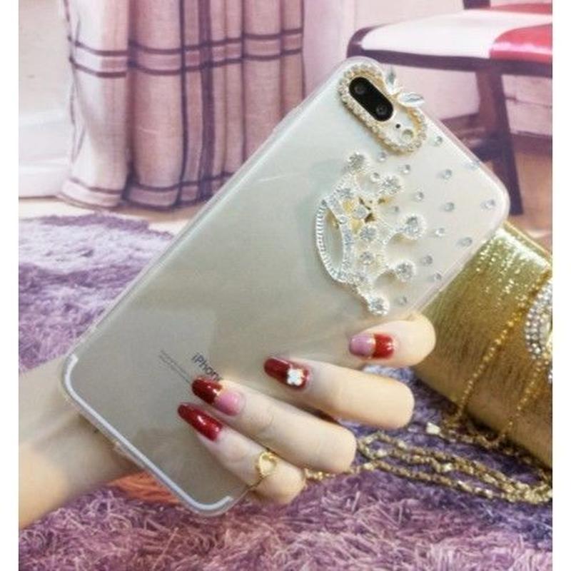 輸入雑貨 Princess ラインストーンティアラ  iphone XR ケース 最大種類 iphone 8 7 6 5 s-plus スマホケース  ティアラ シルバー