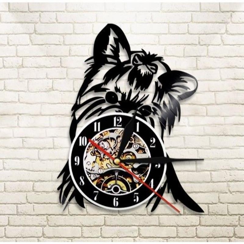 輸入雑貨 ヨークシャテリア 犬 ドッグ Dog 壁アート ヴィンテージ 30cm レコード盤 壁掛け時計 人気  インテリア ディスプレイ