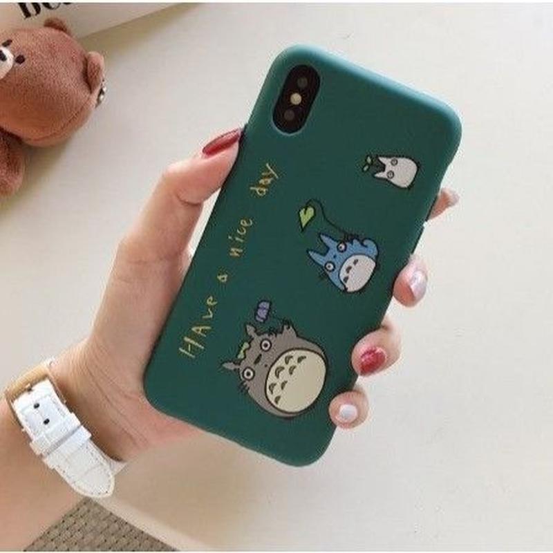 輸入雑貨 トトロ ケータイケース totoro ケータイカバー  iphone XR ケース 最大種類 iphone 8 7 6 6 s-plus 3匹トトログリーンブルー