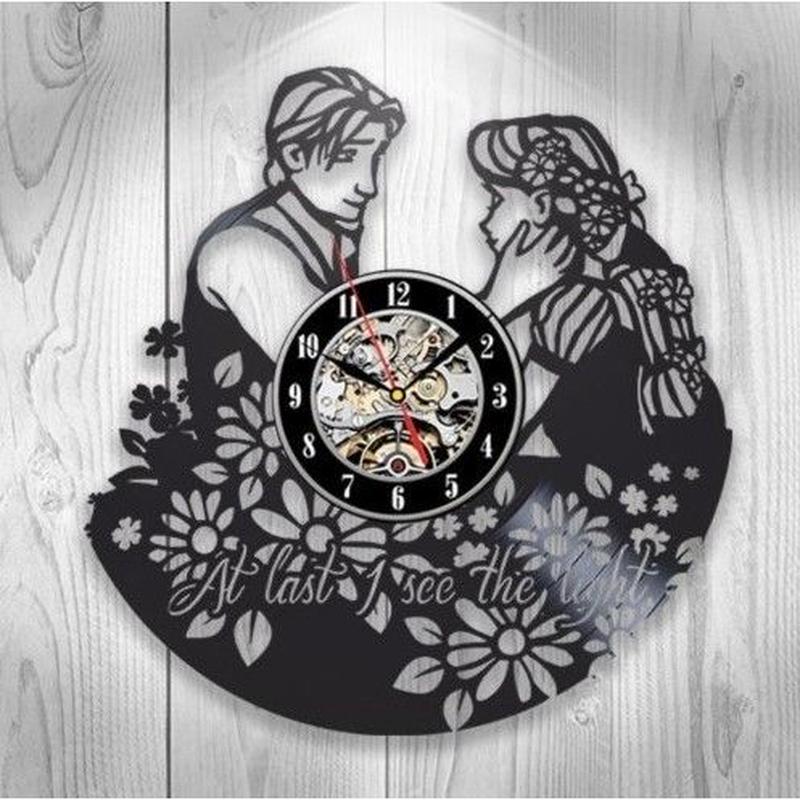 輸入雑貨 ラプンツェル 30cm レコード盤 壁掛け時計 アニメ 映画 人気  インテリア ディスプレイ