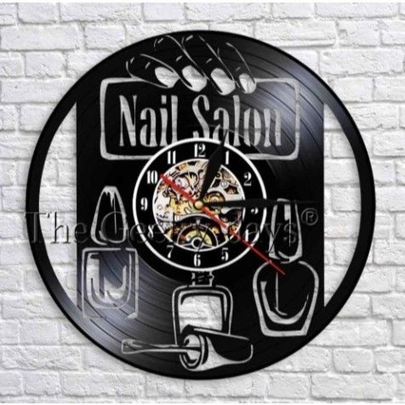 輸入雑貨 ネイリスト シリーズ ネイル 壁アート ヴィンテージ 30cm レコード盤 壁掛け時計 人気  インテリア ディスプレイ 10種類展開 5