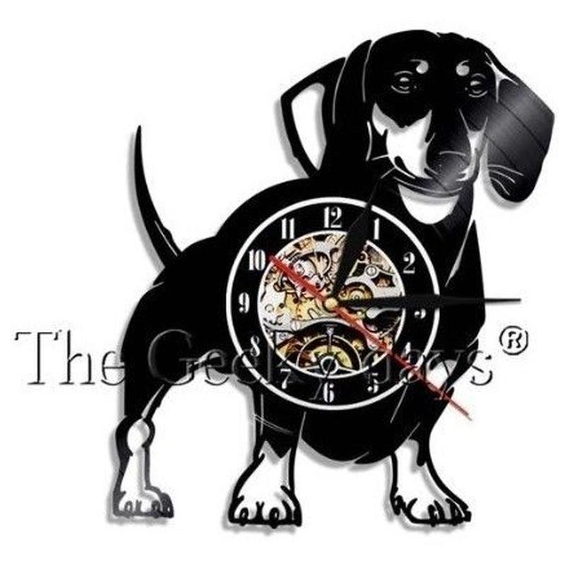 輸入雑貨 ダックスフンド 犬 ヴィンテージ 30cm レコード盤 壁掛け時計 アニメ 映画 人気  インテリア ディスプレイ 3種類展開 1