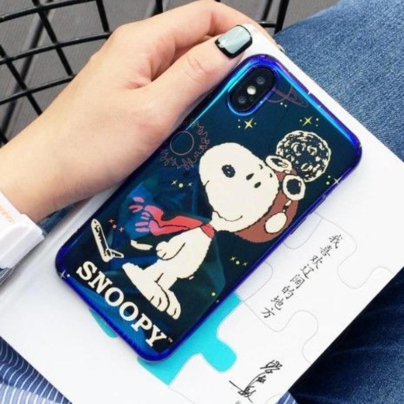 輸入雑貨 スヌーピー ケータイケース snoopy ケータイカバー  iphone X 最大種類 iphone 8 7 6 6 s-plus 宇宙ブルー