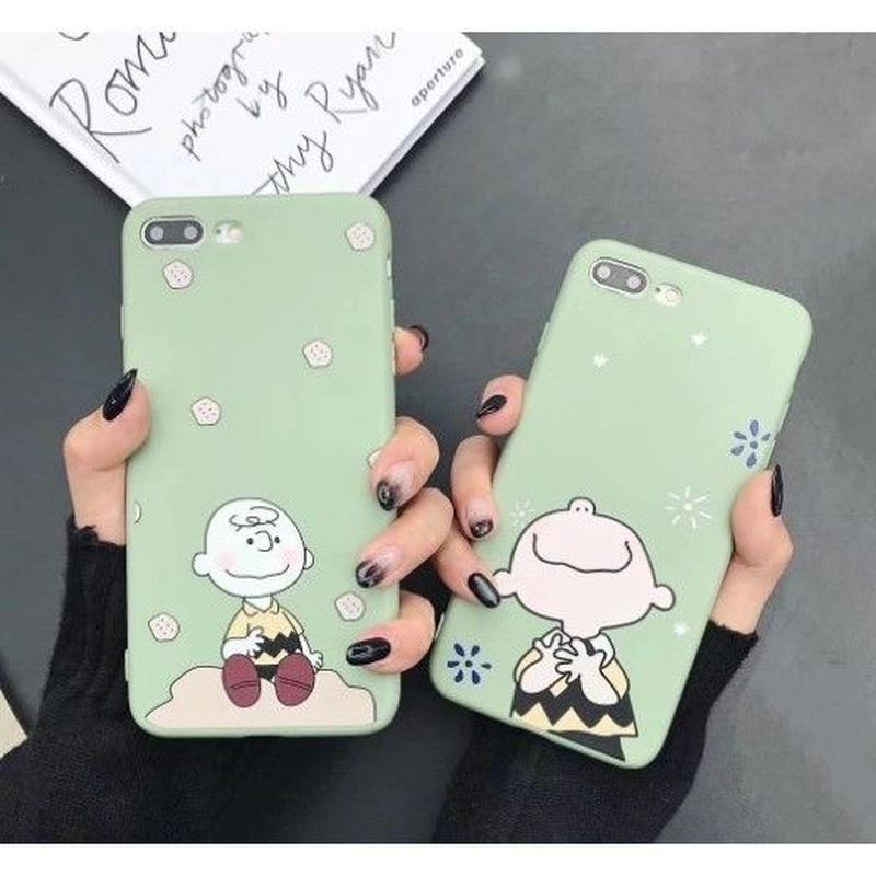 輸入雑貨 チャーリーブラウン snoopy ケータイカバー  iphone XR XsMAX 最大種類 iphone 8 7 6 6 s-plus  Wグリーン