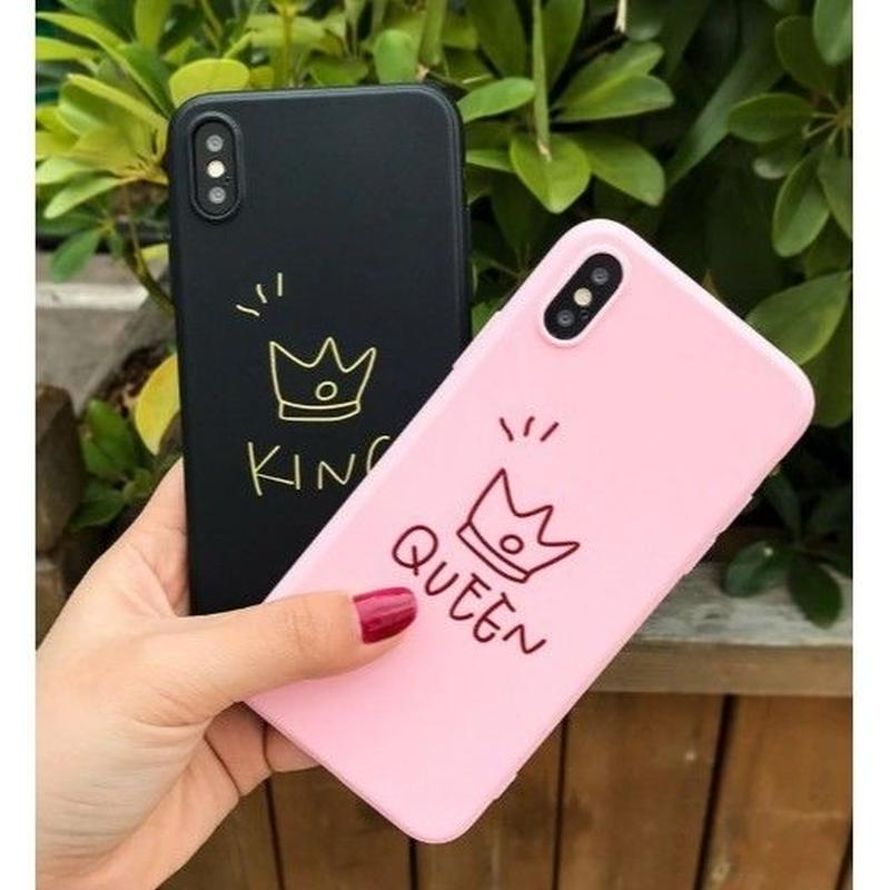 輸入雑貨 シンプル KING & QUEEN  iphone XR ケース 最大種類 iphone 8 7 6 6 s-plus スマホケース  マットティアラ1