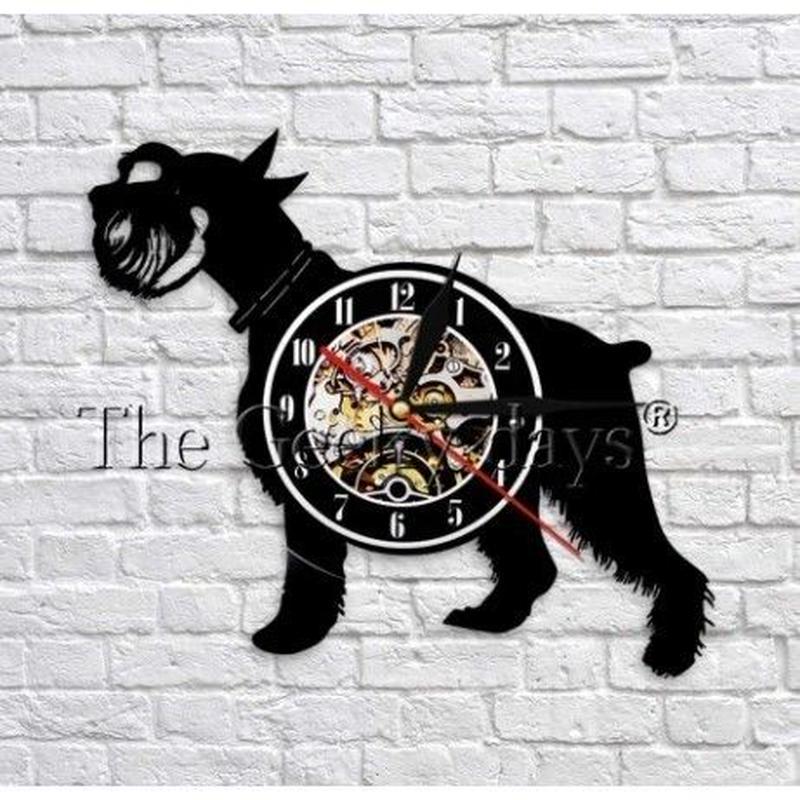 輸入雑貨 シュナウザー 犬 ドッグ 壁アート ヴィンテージ 30cm レコード盤 壁掛け時計 人気  インテリア ディスプレイ 2種類展開 2