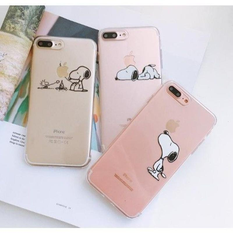 輸入雑貨 スヌーピー クリア Snoopy ケータイカバー  iphone XR XsMAX ケース 最大種類 iphone 8 7 6 5 5s SE-plus