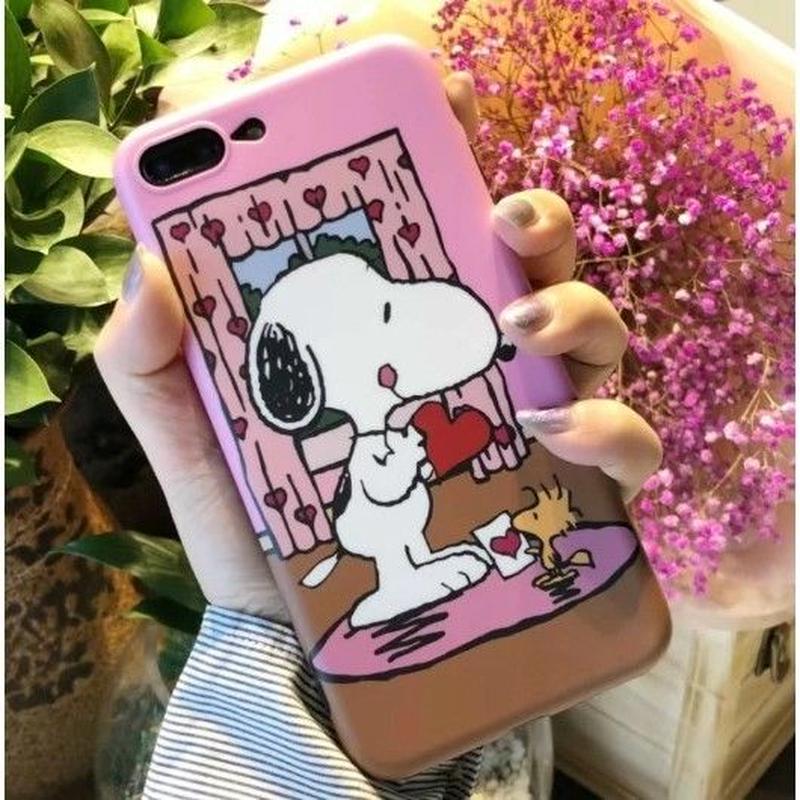輸入雑貨 スヌーピー ケータイケース snoopy ケータイカバー  iphone XR XsMAX 最大種類 iphone 8 7 6 6 s-plus ハートカーテン