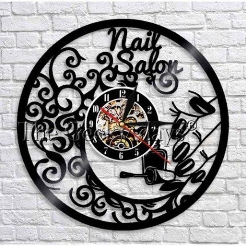 輸入雑貨 ネイリスト シリーズ ネイル 壁アート ヴィンテージ 30cm レコード盤 壁掛け時計 人気  インテリア ディスプレイ 10種類展開 2