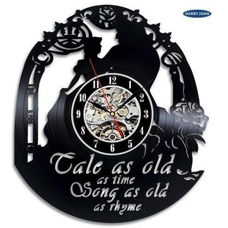 輸入雑貨 美女と野獣 30cm レコード盤 壁掛け時計 アニメ 映画 人気  インテリア ディスプレイ 2種類展開 2