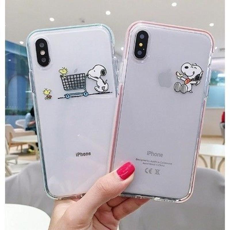 輸入雑貨 スヌーピー snoopy ケータイカバー  iphone XR XsMAX 最大種類 iphone 8 7 6 6 s-plus クリアPINK BLUE