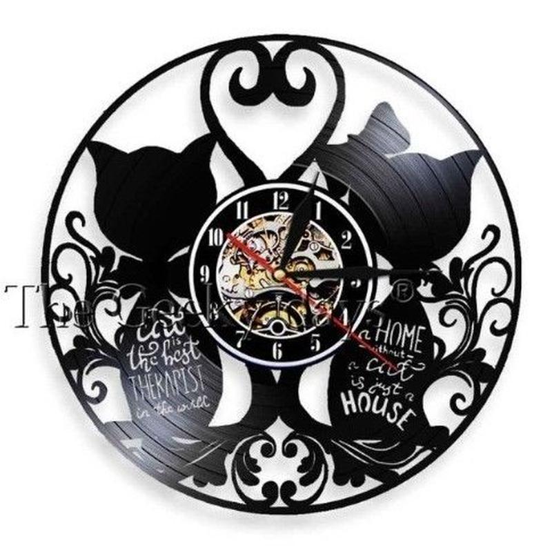輸入雑貨 黒猫 ネコ 猫 キャット 壁アート ヴィンテージ 30cm レコード盤 壁掛け時計 人気  インテリア ディスプレイ 13種類展開 8