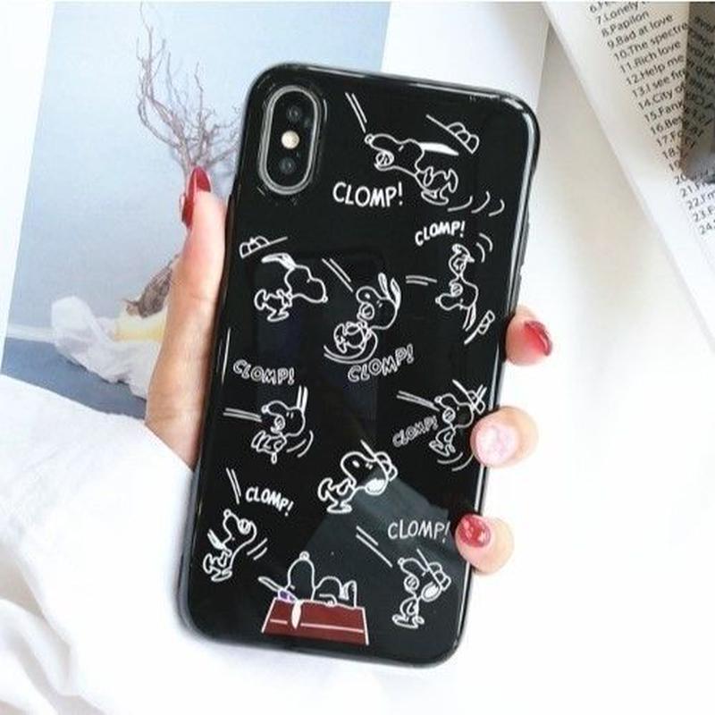 輸入雑貨 スヌーピー ケータイケース snoopy ケータイカバー  iphone X 最大種類 iphone 8 7 6 6 s-plus  マガジンブラック