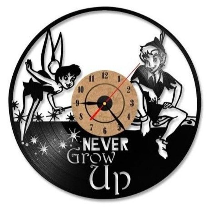輸入雑貨 ピーターパン ティンカーベル 30cm レコード盤 壁掛け時計 アニメ 映画 人気  インテリア ディスプレイ 2種類展開 2