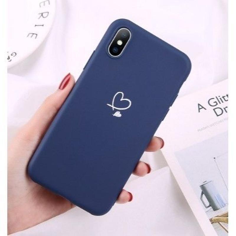輸入雑貨 シンプルネイビー   iphone XR ケース 最大種類 iphone 8 7 6 5 SE-plus スマホケース  ハート