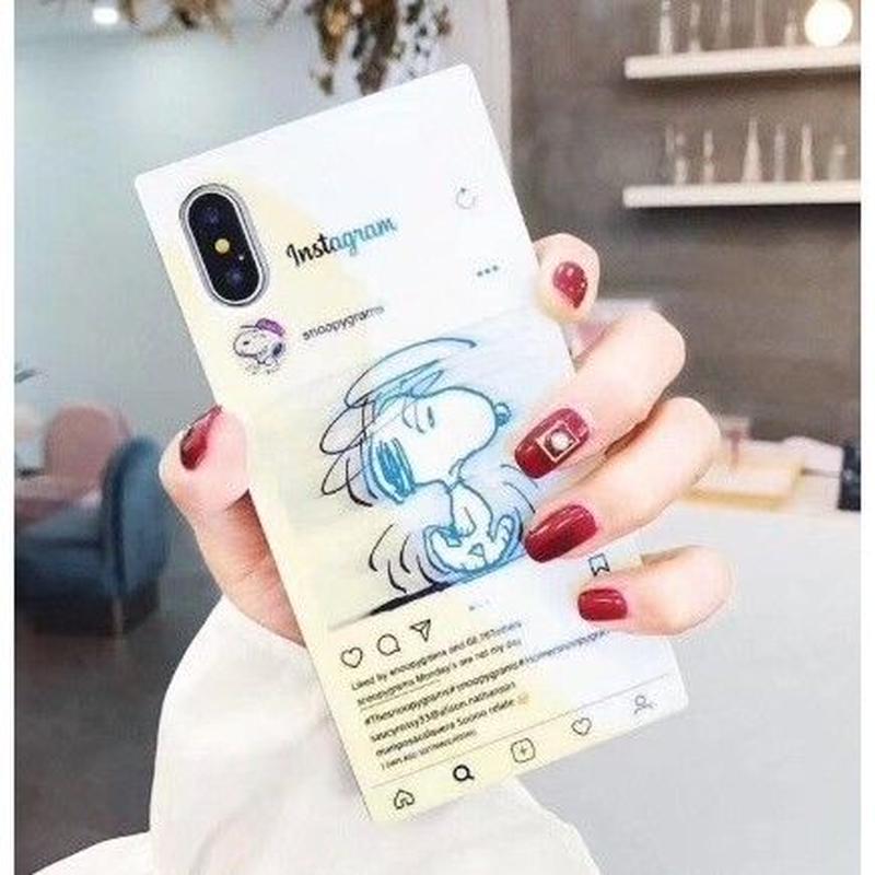 輸入雑貨 スヌーピー ケータイケース snoopy ケータイカバー  iphone XR XsMAX 最大種類 iphone 8 7 6 6 s-plus ミラーホワイト 2