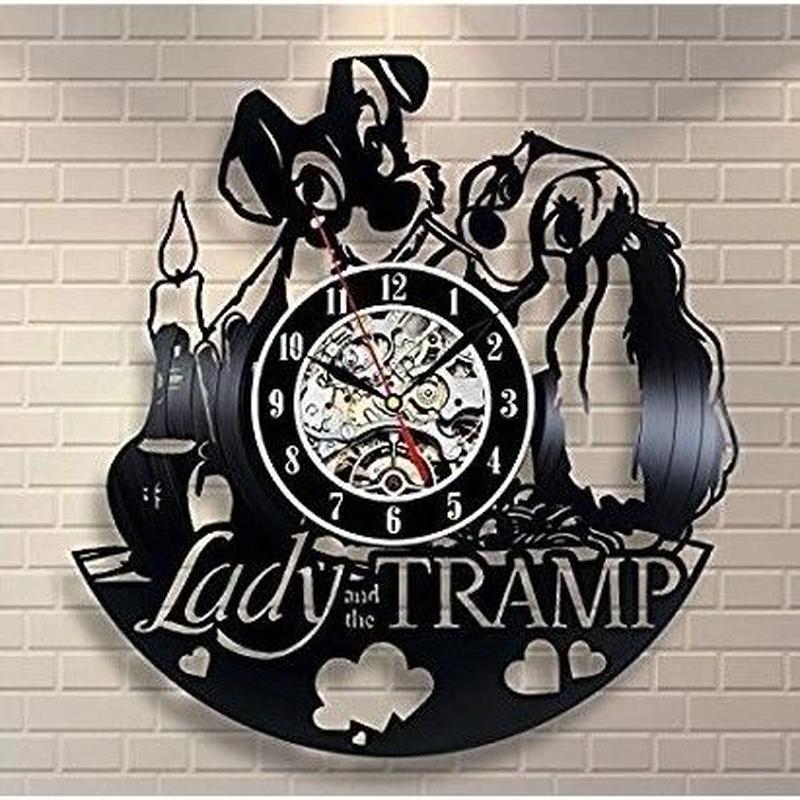輸入雑貨 わんわん物語 30cm レコード盤 壁掛け時計 アニメ 映画 人気  インテリア ディスプレイ