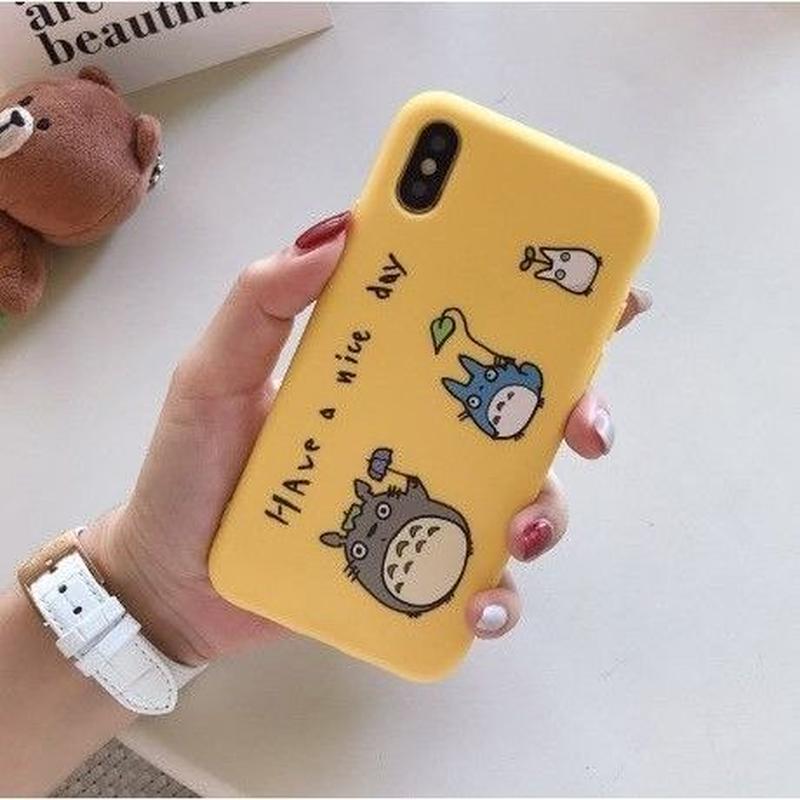 輸入雑貨 トトロ ケータイケース totoro ケータイカバー  iphone XR ケース 最大種類 iphone 8 7 6 6 s-plus 3匹トトロイエロー