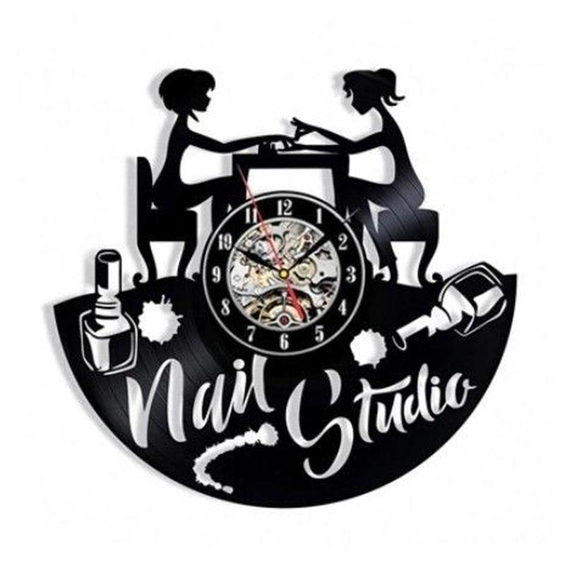 輸入雑貨 ネイルスタジオ シリーズ ネイル 壁アート ヴィンテージ 30cm レコード盤 壁掛け時計 人気  インテリア ディスプレイ