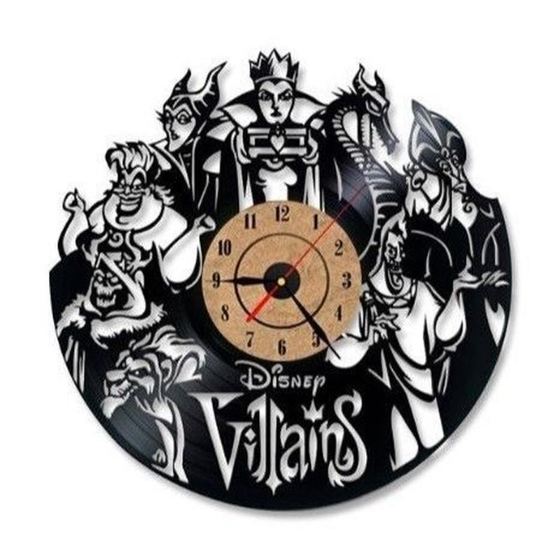 輸入雑貨 ヴィランズ ディズニー 30cm レコード盤 壁掛け時計 アニメ 映画 人気  インテリア ディスプレイ 2種類展開 2
