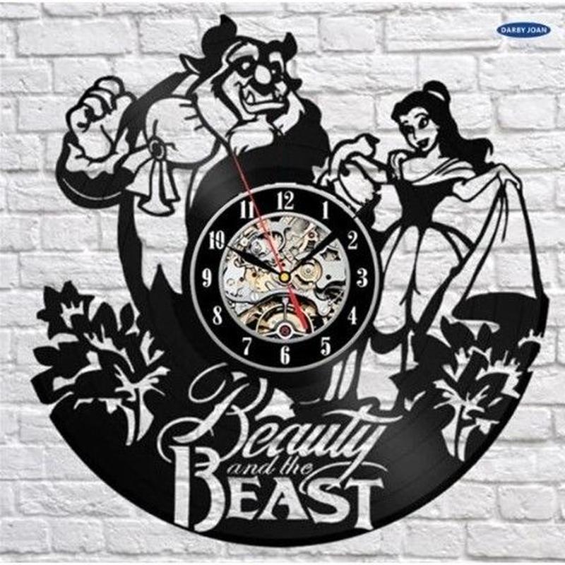 輸入雑貨 美女と野獣 30cm レコード盤 壁掛け時計 アニメ 映画 人気  インテリア ディスプレイ 8種類展開 7