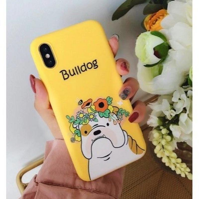 輸入雑貨 フラワー Hat Dog  犬 ケータイカバー iphone XR XsMAX 最大種類 iphone 8 7 6 6 s-plus イエローブルドッグ