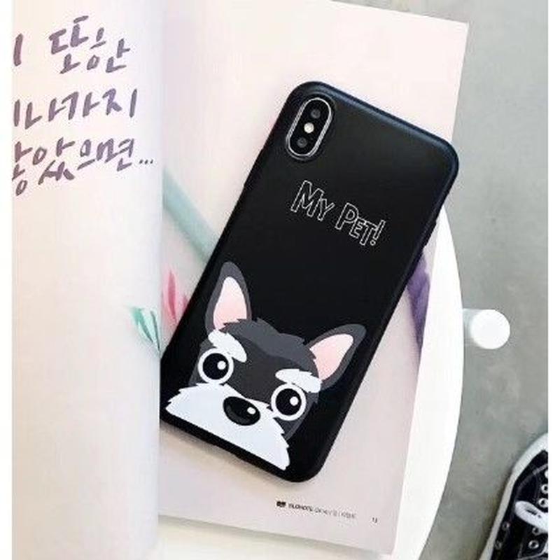 輸入雑貨 Myペット Dog  犬 ケータイカバー iphone XR XsMAX 最大種類 iphone 8 7 6 6 s-plus ブラック