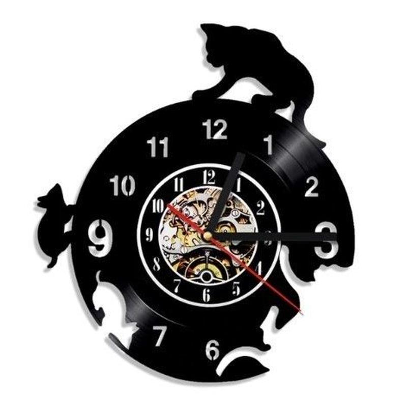 輸入雑貨 マウス&キャット 猫 ネコ キャット 壁アート ヴィンテージ 30cm レコード盤 壁掛け時計 人気  インテリア ディスプレイ  19