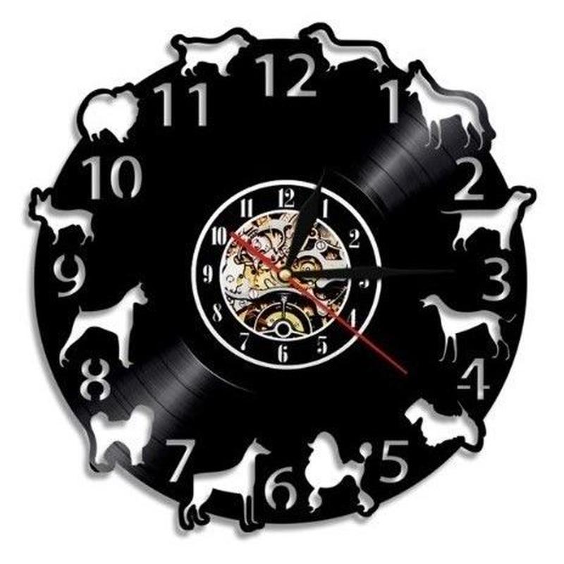 輸入雑貨 壁アート Dogs ドッグ 犬 ヴィンテージ 30cm レコード盤 壁掛け時計 アニメ 映画 人気  インテリア ディスプレイ