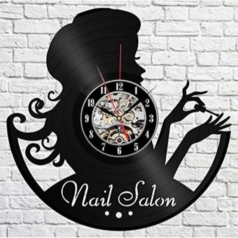 輸入雑貨 ネイルサロン シリーズ ネイル 壁アート ヴィンテージ 30cm レコード盤 壁掛け時計 人気  インテリア ディスプレイ
