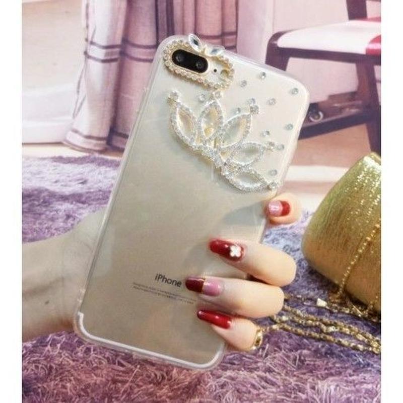 輸入雑貨 Princess ラインストーンティアラ  iphone XR ケース 最大種類 iphone 8 7 6 5 s-plus スマホケース  ティアラ フラワーシルバー